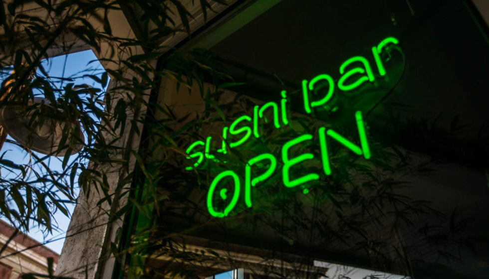 sushi bar open green sign