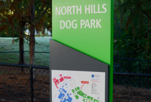 Capital Sign Solutions - Kane Realty North Hills dog park sign