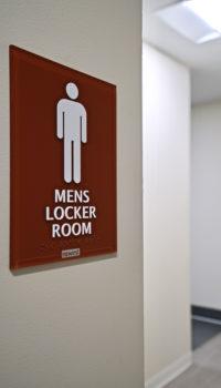 mens locker room brown sign